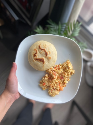Typical Venezuelan - Arepa and scrambled eggs